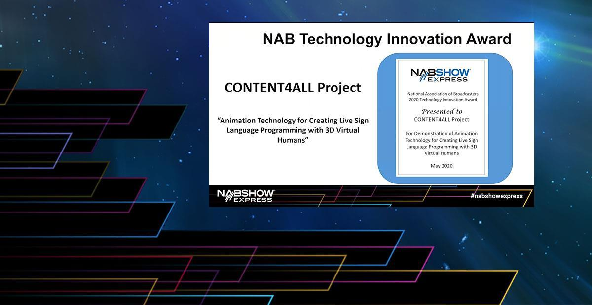CONTENT4ALL vince al NAB Technology Innovation Award